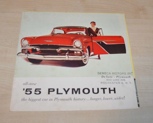 1955 Plymouth Model Range Poster Brochure Prospekt