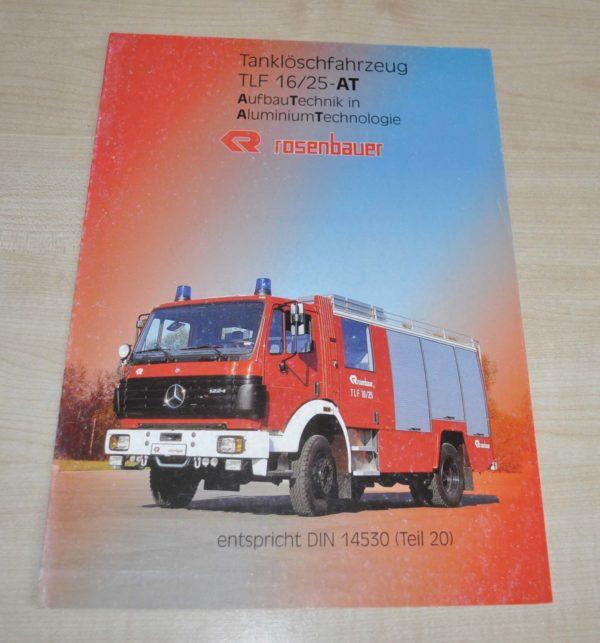 Rosenbauer TLF 16/25-AT Fire Engine Mercedes Benz Truck Brochure Prospekt