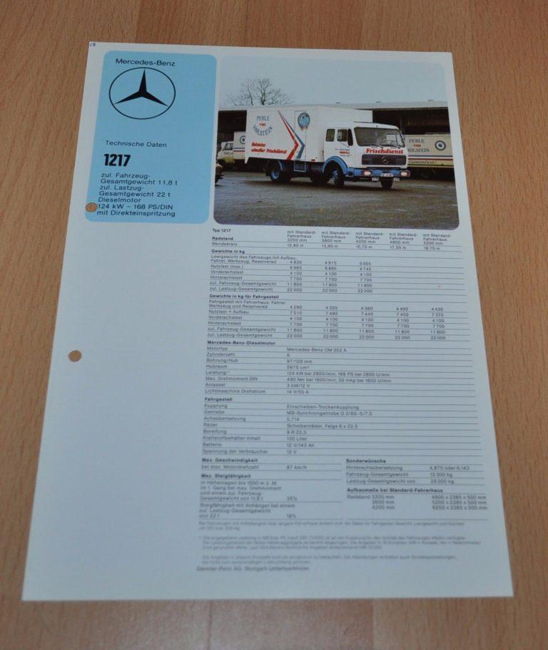 Mercedes Benz 1217 Specification Technische Daten LKW Truck Brochure ...