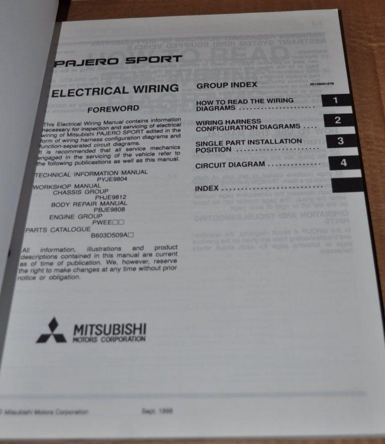 Mitsubishi pajero sport 1999 electrical wiring workshop manual mitsubishi pajero sport 1999 electrical wiring workshop manual original book auto brochure cheapraybanclubmaster Gallery