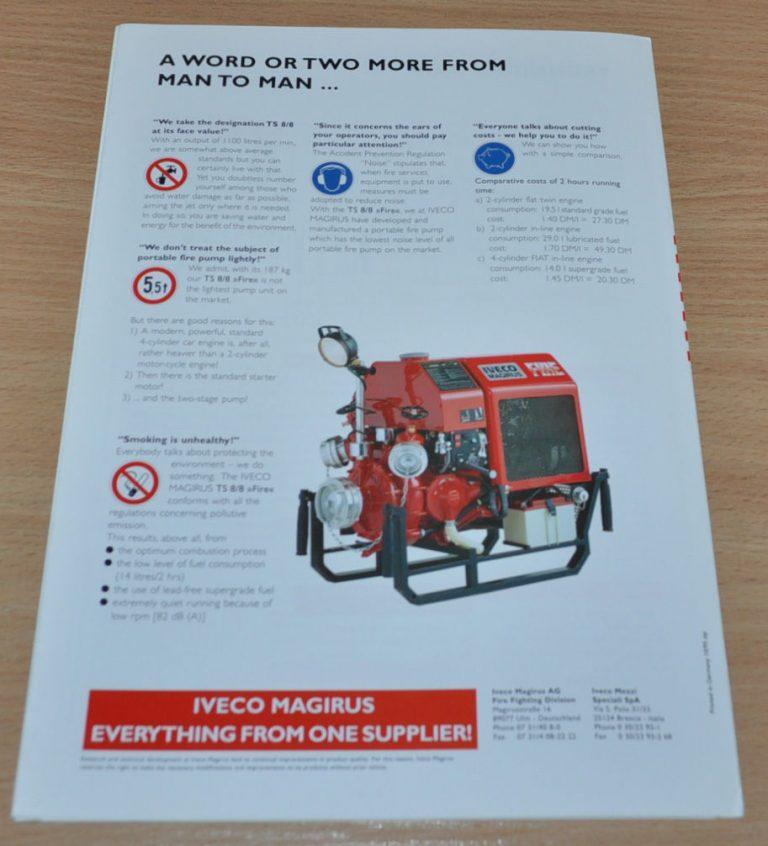 Magirus Iveco Portable Pump Fire Engine Brochure Prospekt