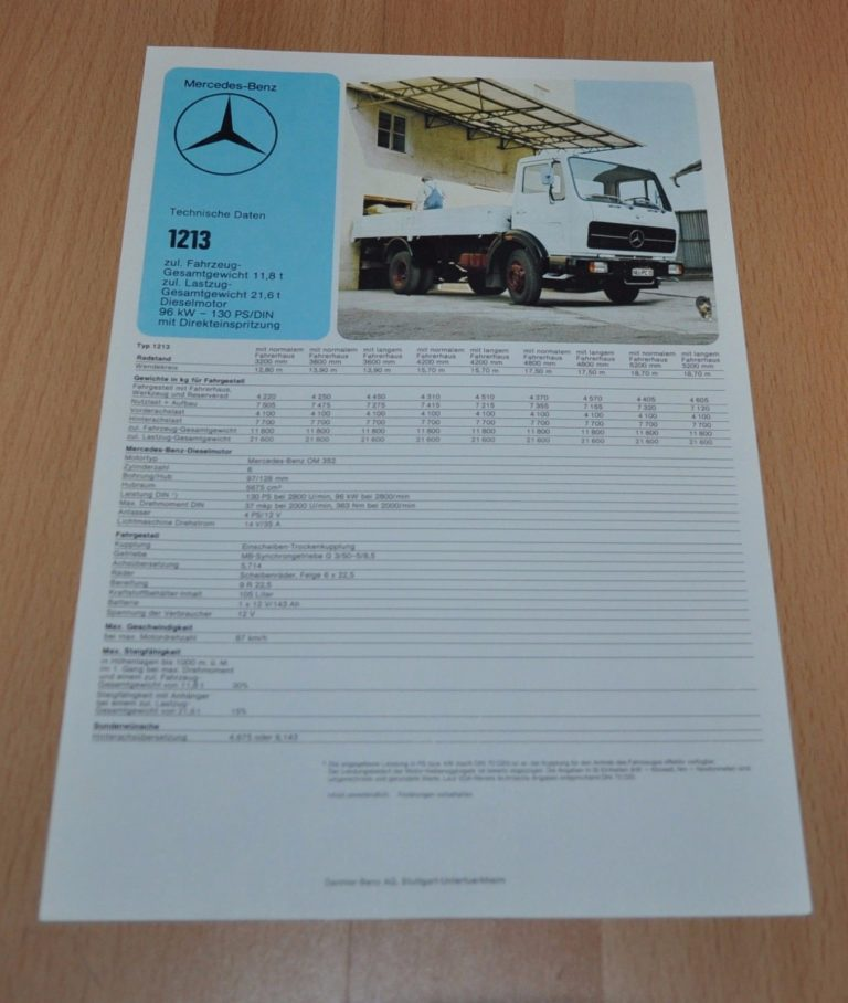 Mercedes Benz 1213 Specification Technische Daten LKW Truck Brochure ...