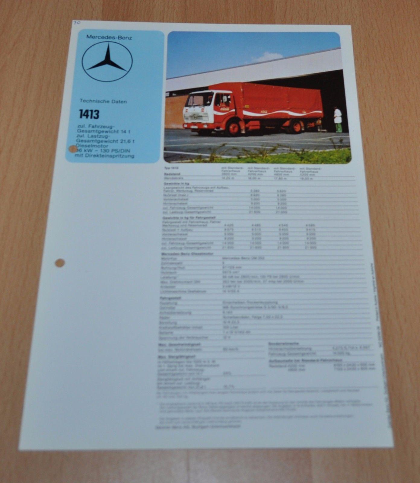 Mercedes Benz 1413 Specification Coca Cola Coke LKW Truck Brochure Prospekt  - AUTO BROCHURE